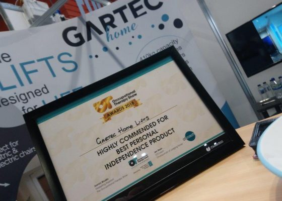 Gartec Home Lifts OT Show Award 2018 - Best Personal Independence Product