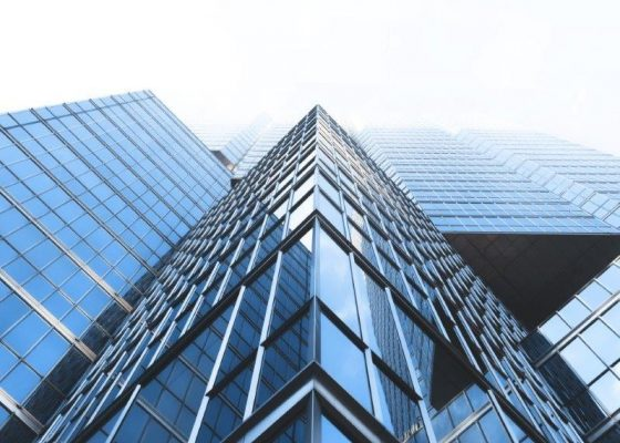 Large glass office buildings